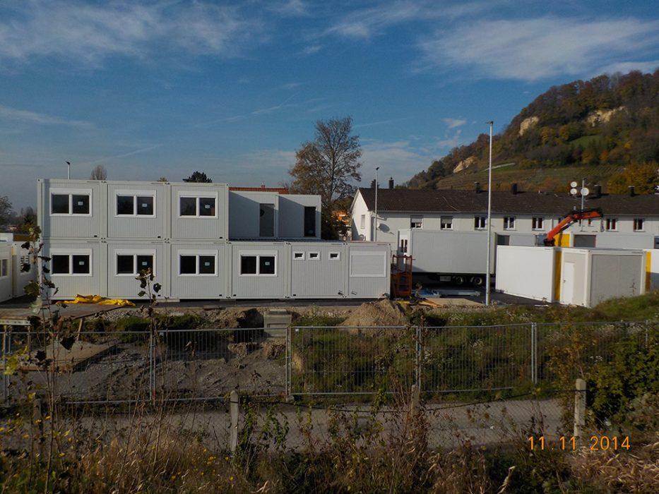 Aufbau des Containerdorfs auf Perimeter 1 (Datum der Aufnahme: November 2014), Quelle: Pressefoto Roche