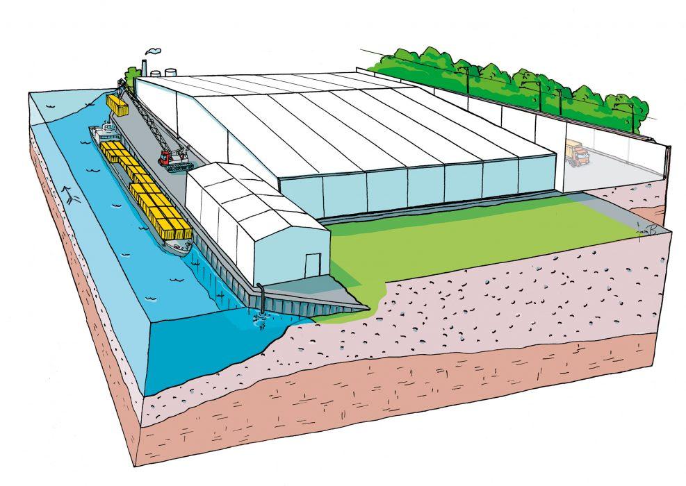 Eine Schiffsanlegestelle wird erstellt. Diese kann für den Abtransport der gasdichten und havariesicheren Spezialcontainer und für die Anlieferung von sauberem Bodenmaterial genutzt werden.