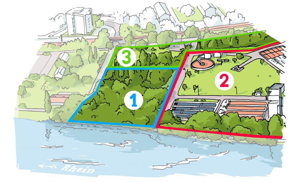 Unterteilung der Altablagerung Kesslergrube in die Perimeter 1, 2 und 3.