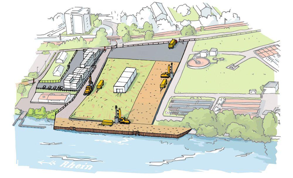 Eine Baugrubenumschließungen und eine in den Rhein reichende Arbeitsplattform am Rheinuferweg mit einer vorgelagerten Schiffsanlegestelle werden erstellt. Container für ein Besucherzentrum und für die Bauleitung und Unternehmer werden aufgestellt und eingerichtet.