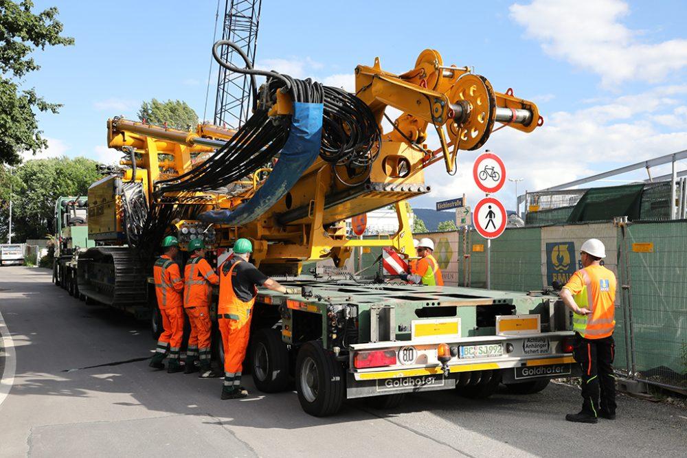 Alles ist bereit für den Abtransport des letzten Großbohrgeräts (Aufnahmedatum: 6. Juni 2017); Quelle: Pressefoto Roche.