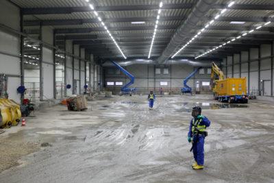 Blick in das Baufeld Mitte, nachdem die Elemente der Lagerboxen gründlich gereinigt und ausgeschleust wurden; Quelle: Pressefoto Roche.