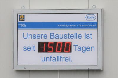 Die Baustelle ist seit 1500 Tagen unfallfrei. Quelle: Pressefoto Roche.