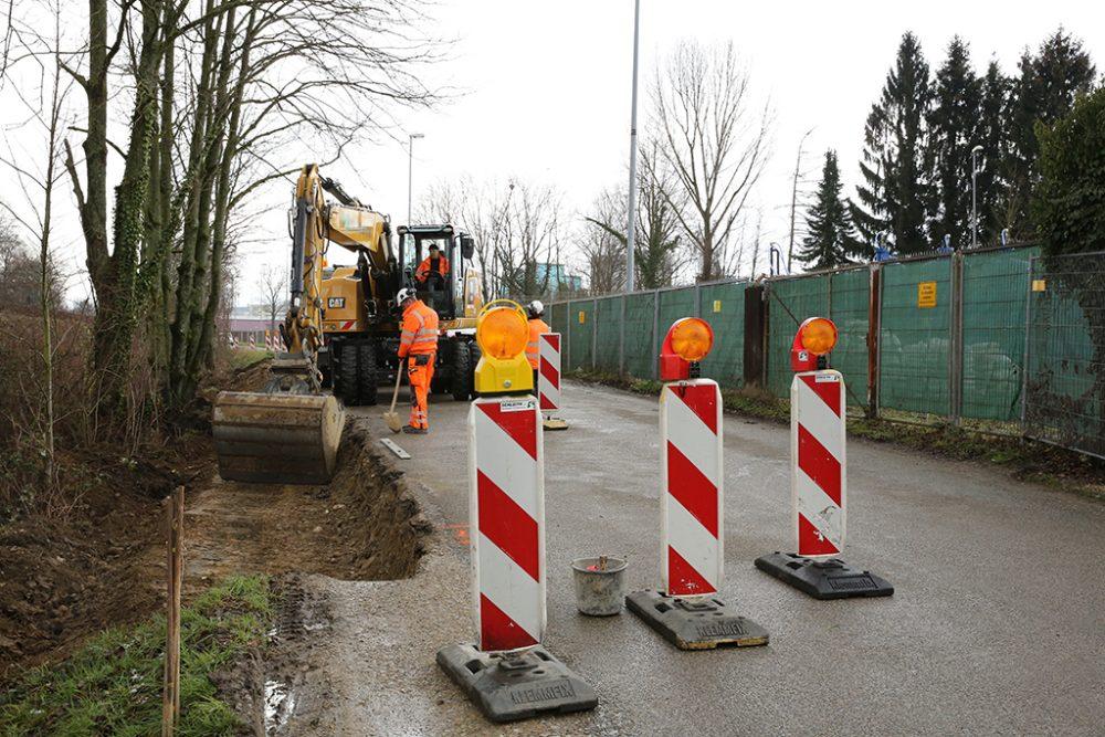 Ertüchtigungsarbeiten an der Köchlinstraße (Aufnahmedatum: 8. März 2016); Quelle: Pressefoto Roche.